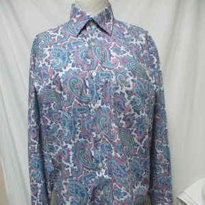 Alan Flusser Men's button down Paisley Shirt Md M